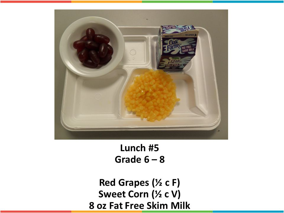 Lunch #5 Grade 6 – 8 Red Grapes (½ c F) Sweet Corn (½ c V)
