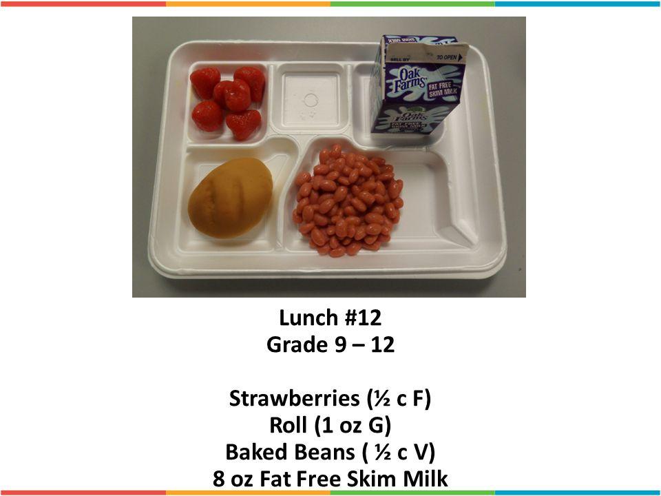 Lunch #12 Grade 9 – 12 Strawberries (½ c F) Roll (1 oz G)