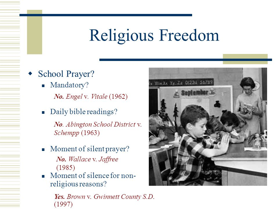 Religious Freedom School Prayer Mandatory Daily bible readings