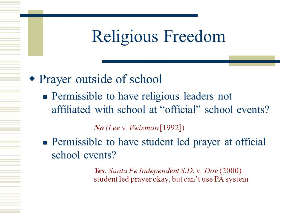 Religious Freedom Prayer outside of school