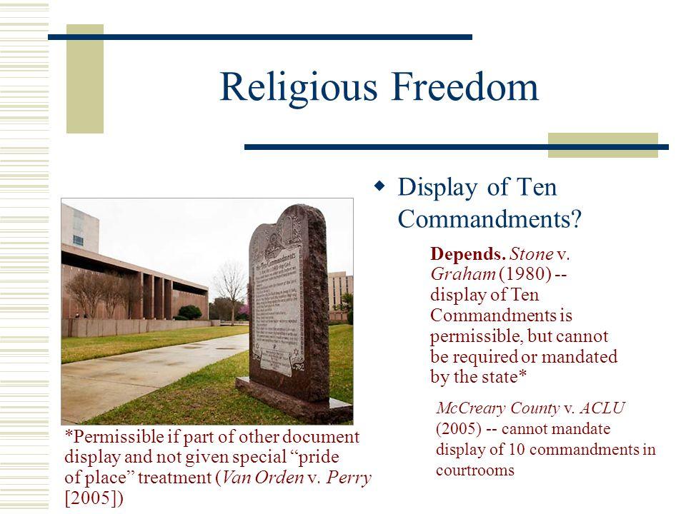 Religious Freedom Display of Ten Commandments