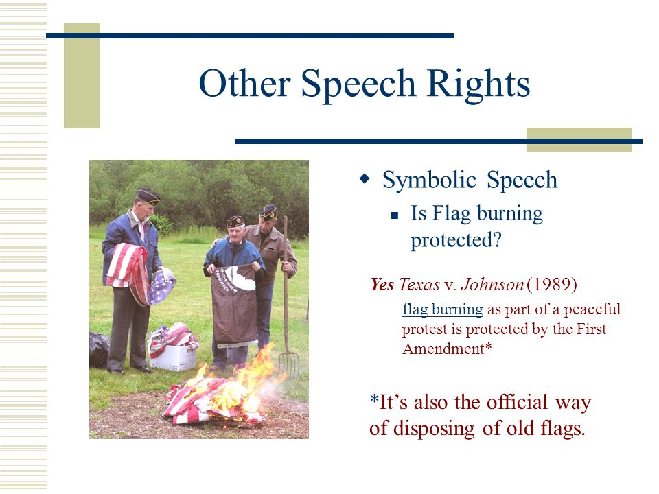 Other Speech Rights Symbolic Speech Is Flag burning protected
