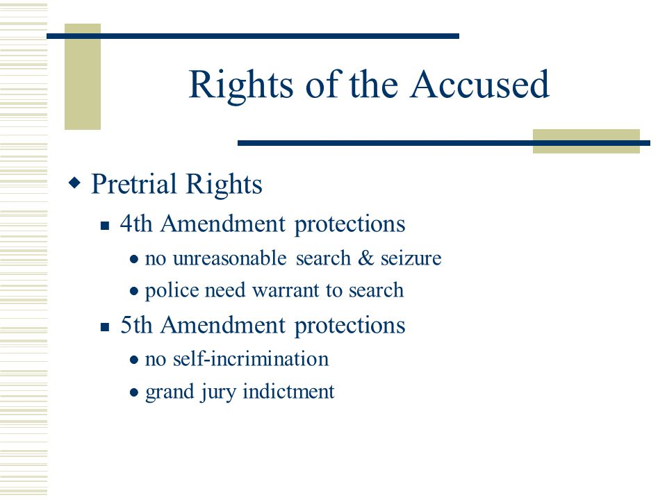 Rights of the Accused Pretrial Rights 4th Amendment protections