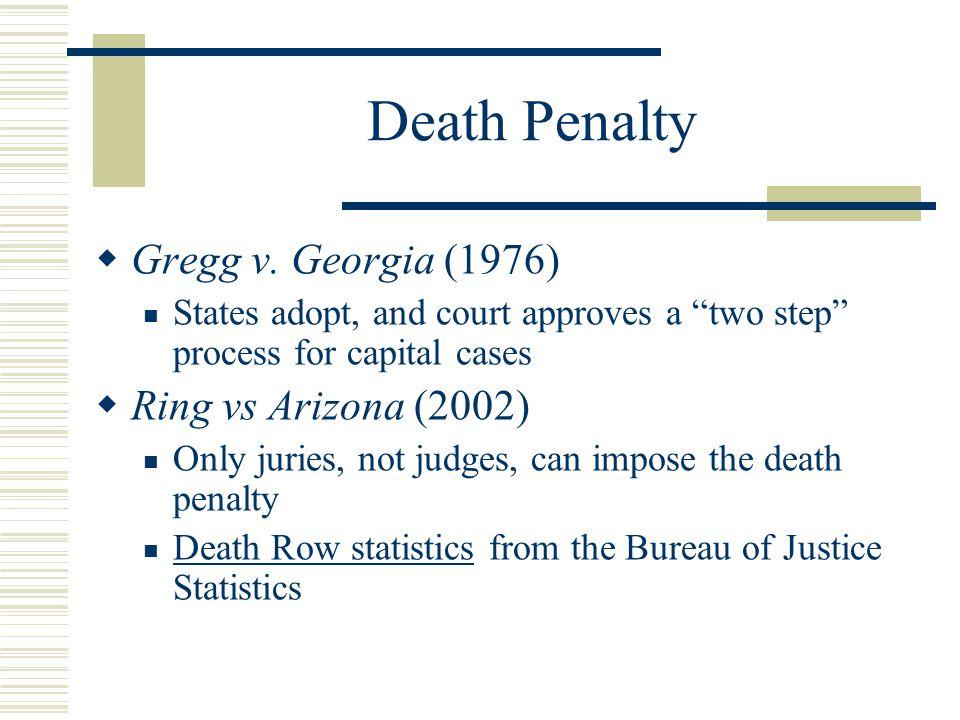 Death Penalty Gregg v. Georgia (1976) Ring vs Arizona (2002)