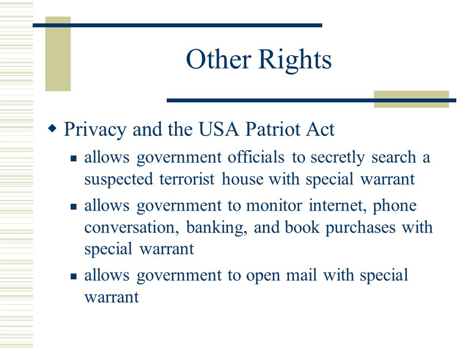 patriot act vs civil rights The controversy over the usa patriot act  thus it could be argued that the 2 to understand the issue it may be useful to remember that in the past civil rights .