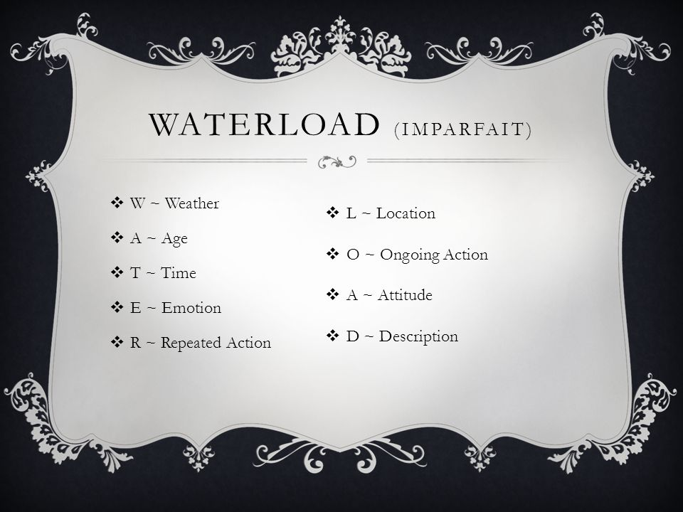 Waterload (imparfait)