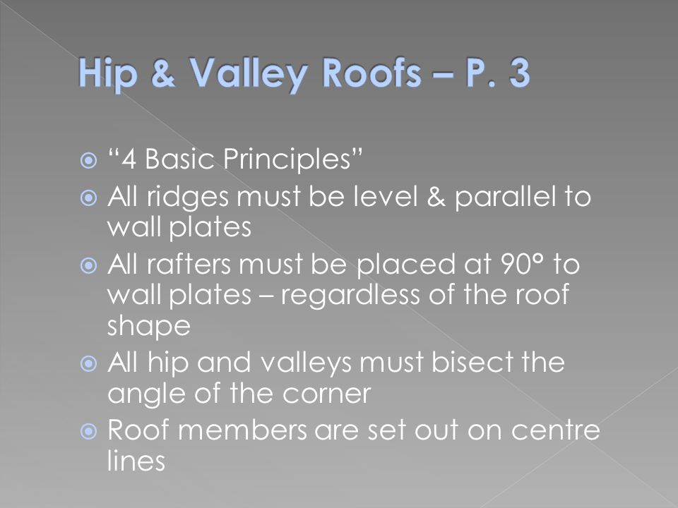 Hip & Valley Roofs – P. 3 4 Basic Principles