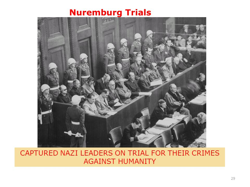 CAPTURED NAZI LEADERS ON TRIAL FOR THEIR CRIMES AGAINST HUMANITY