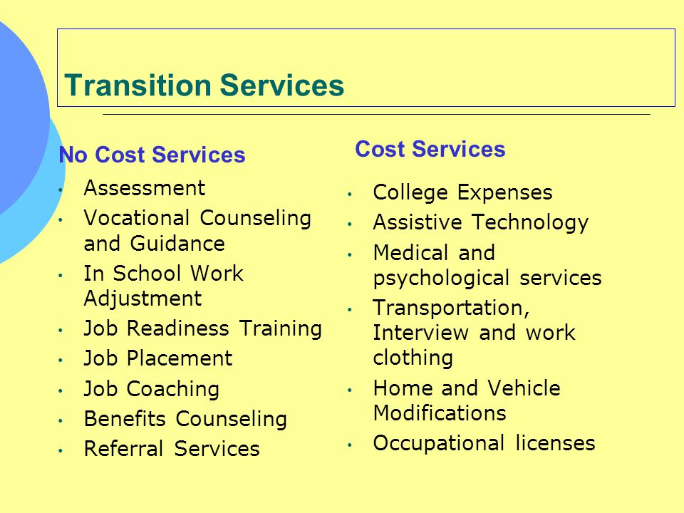Transition Services Cost Services No Cost Services Assessment