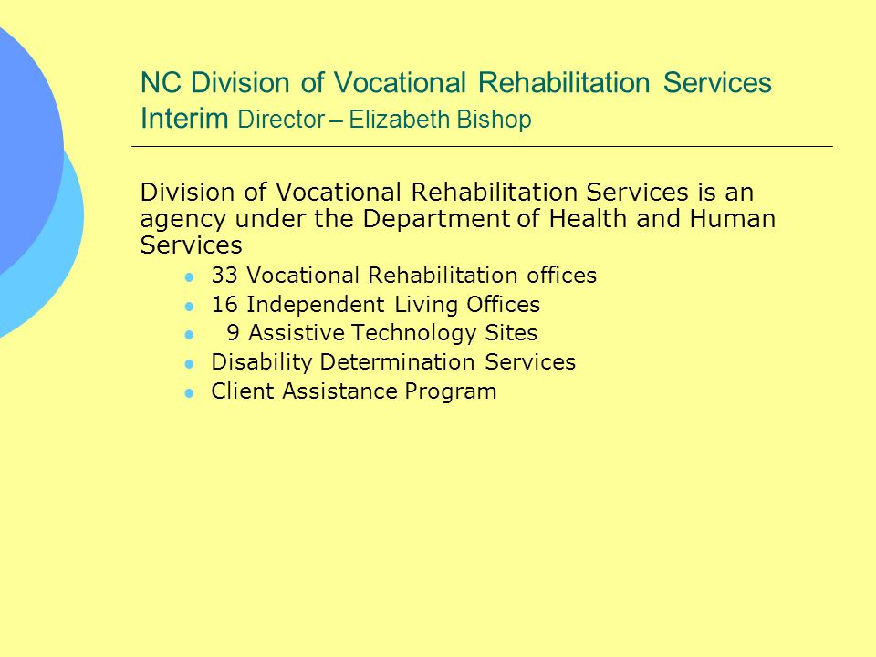 NC Division of Vocational Rehabilitation Services Interim Director – Elizabeth Bishop