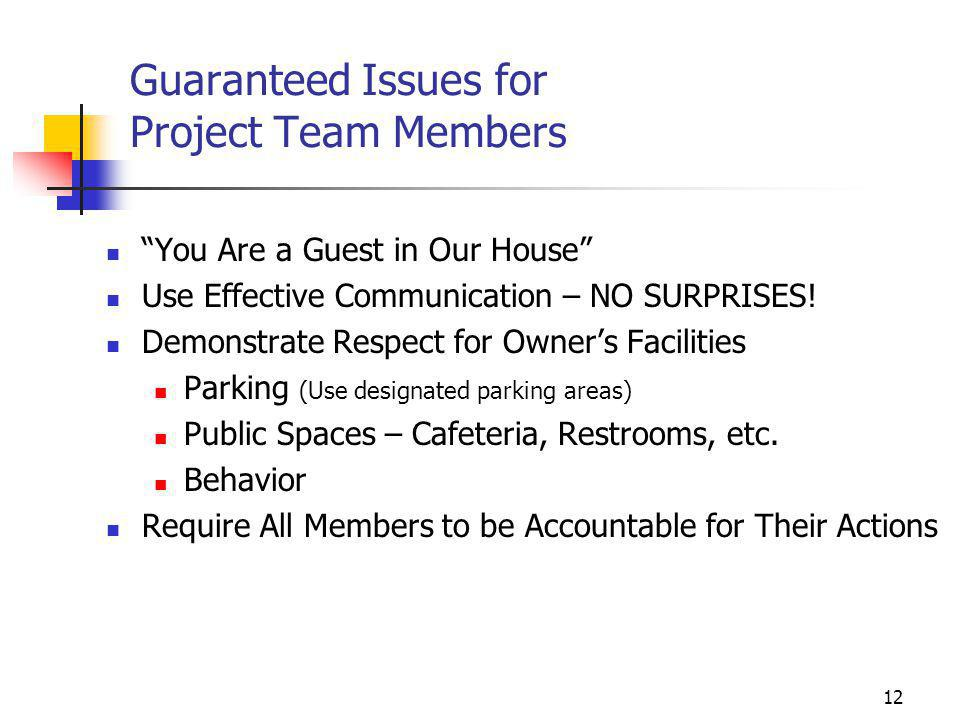 Guaranteed Issues for Project Team Members