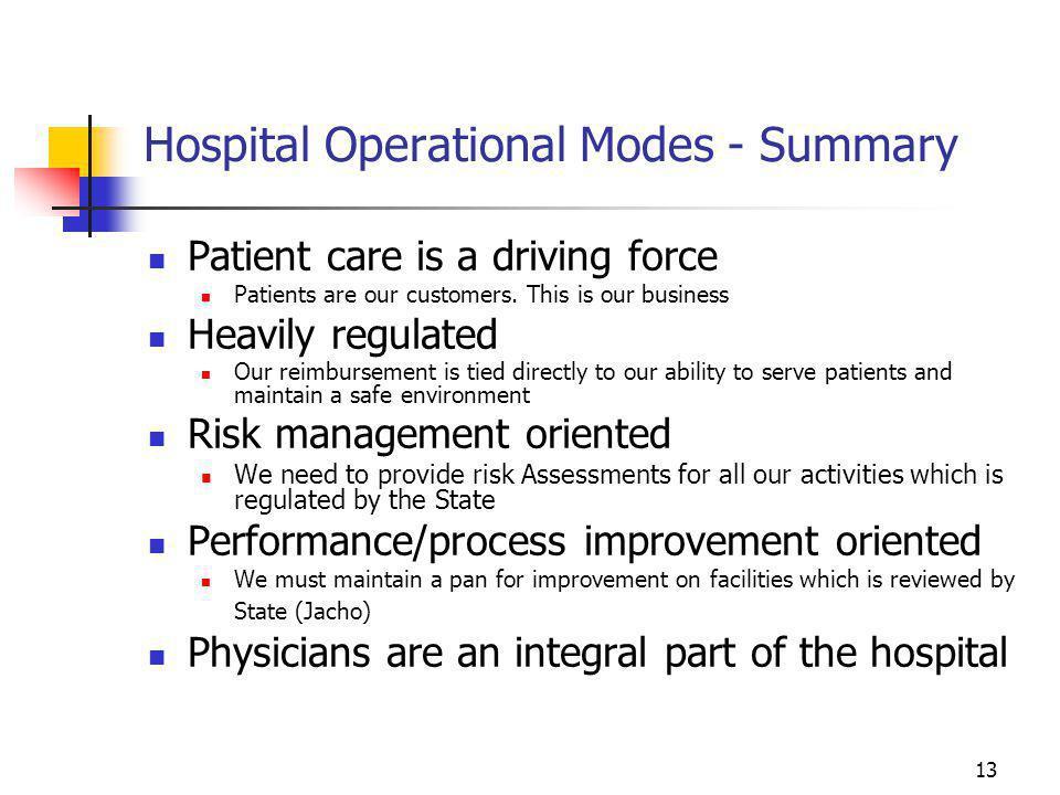 Hospital Operational Modes - Summary