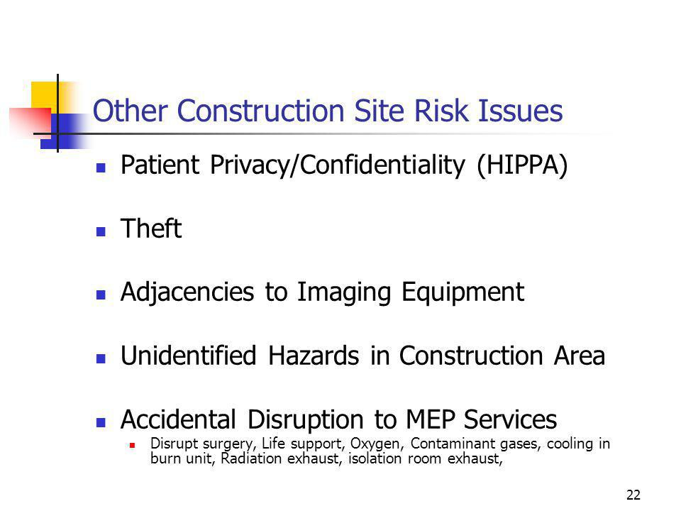 Other Construction Site Risk Issues