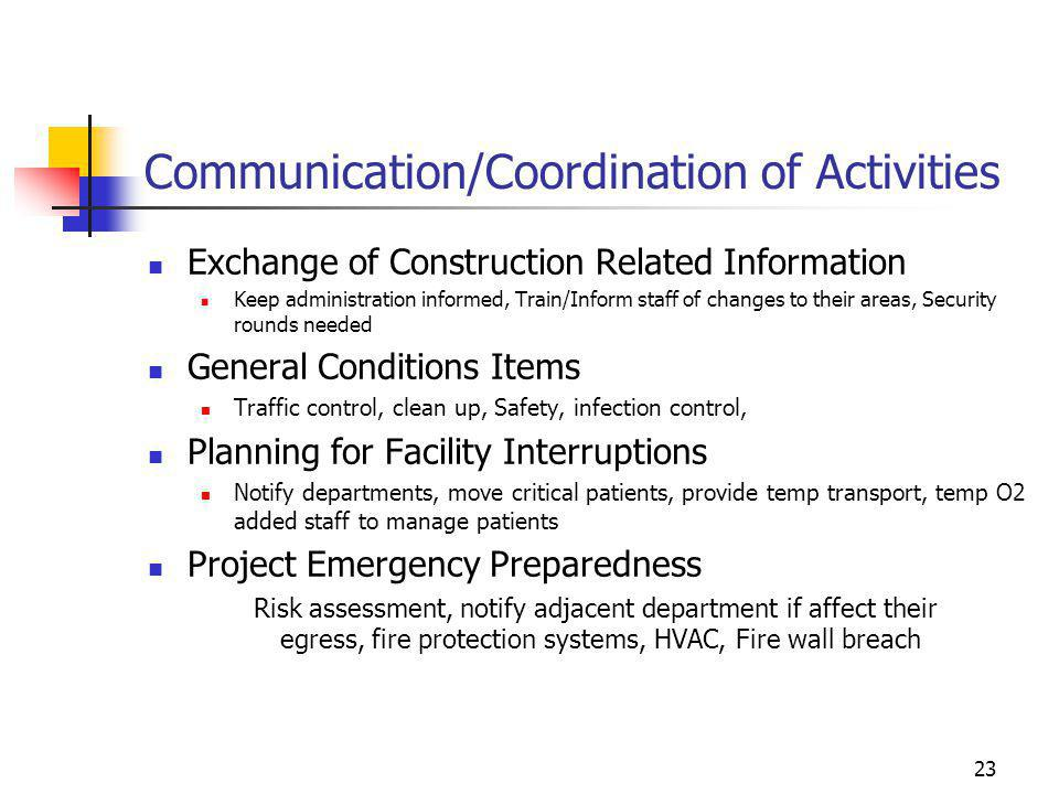 Communication/Coordination of Activities