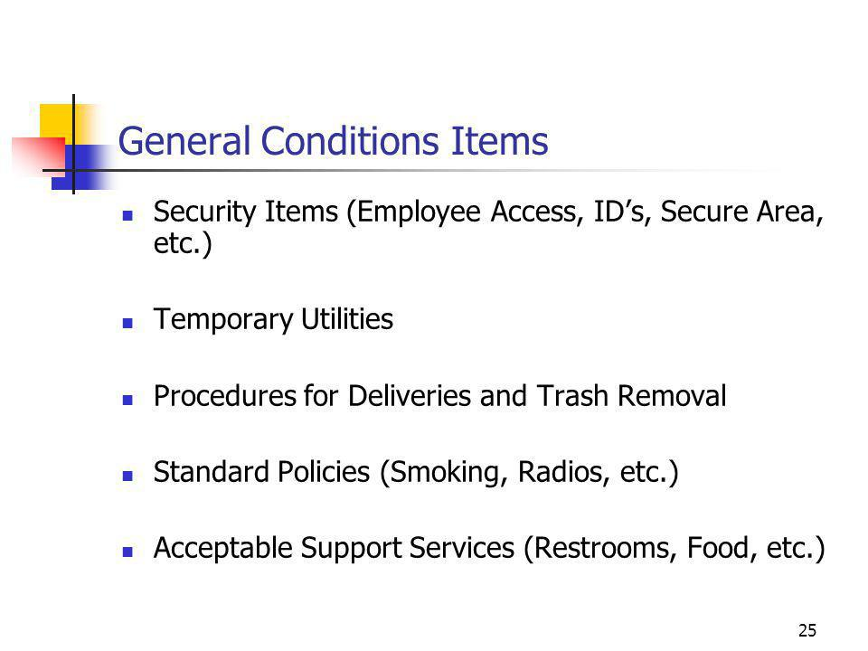 General Conditions Items