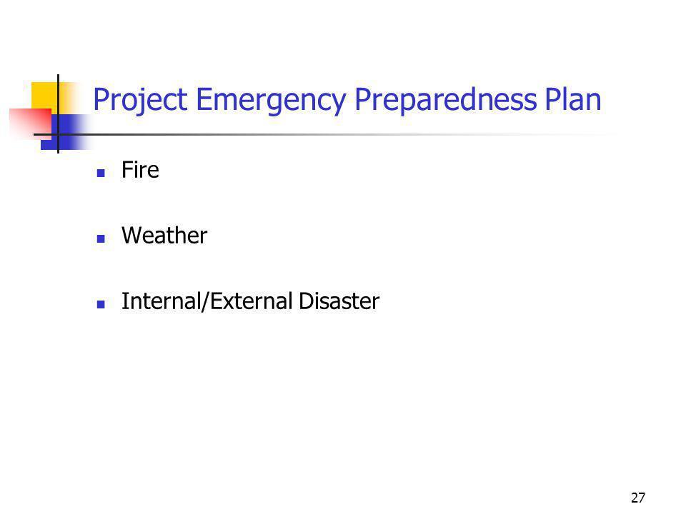 Project Emergency Preparedness Plan