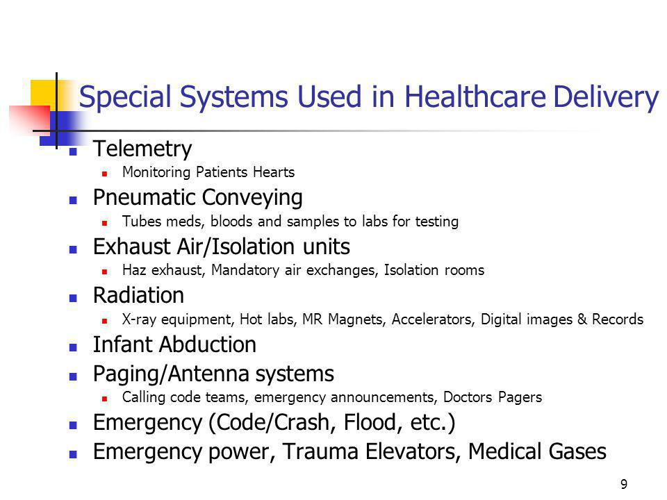 Special Systems Used in Healthcare Delivery