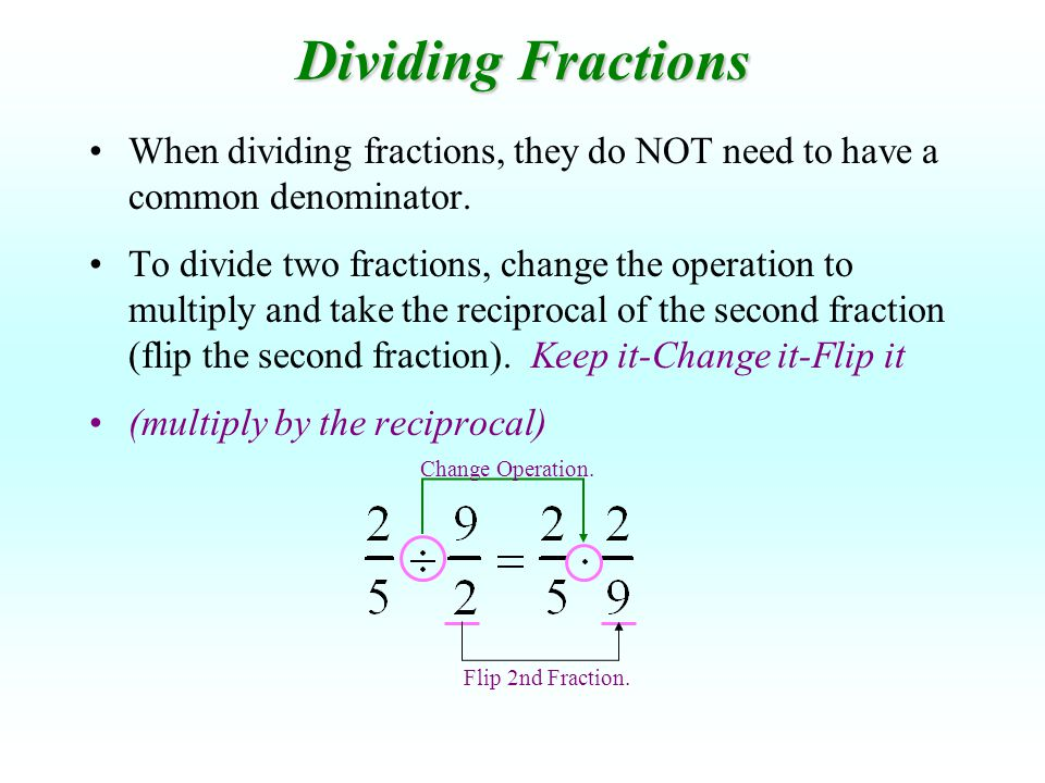 Dividing Fractions When dividing fractions, they do NOT need to have a common denominator.