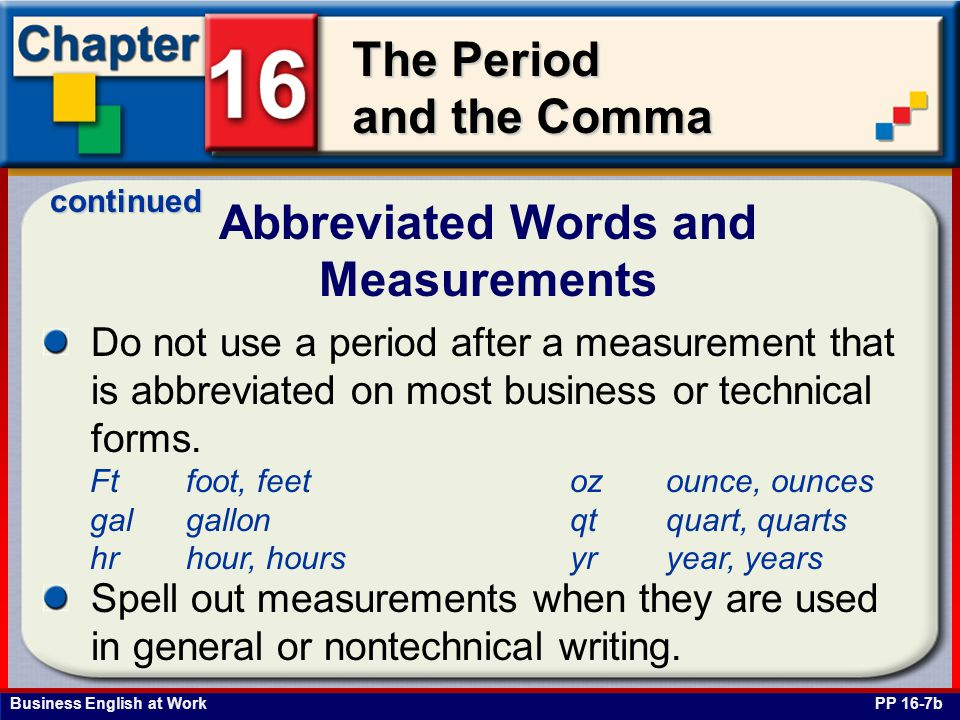 Abbreviated Words and Measurements