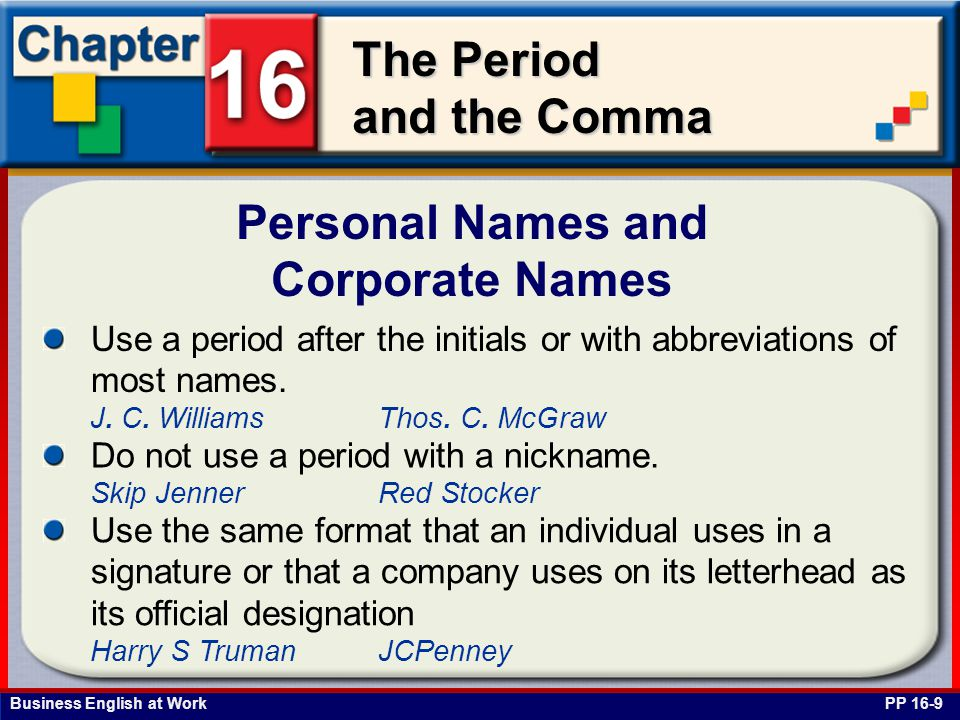 Personal Names and Corporate Names
