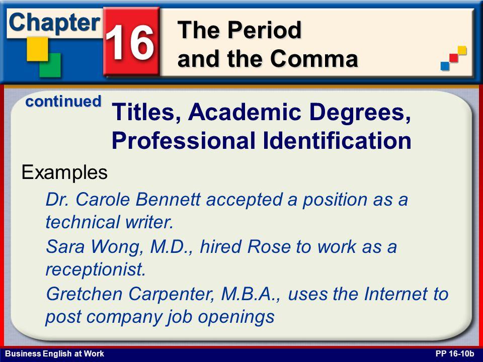 Titles, Academic Degrees, Professional Identification