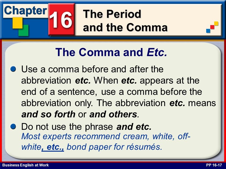 The Comma and Etc.