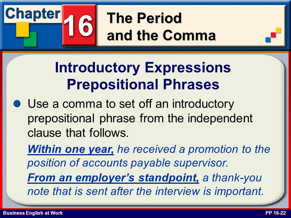 Introductory Expressions Prepositional Phrases