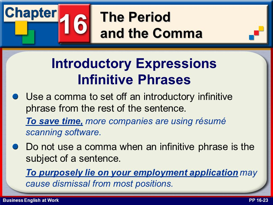 Introductory Expressions Infinitive Phrases
