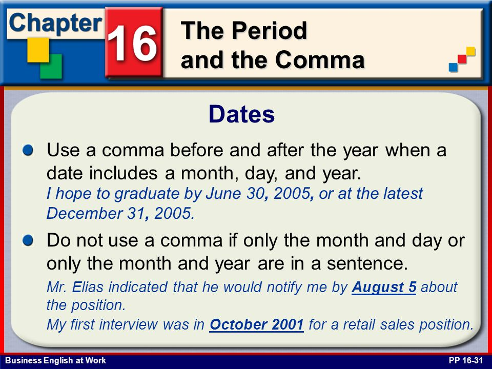 Dates Use a comma before and after the year when a date includes a month, day, and year.