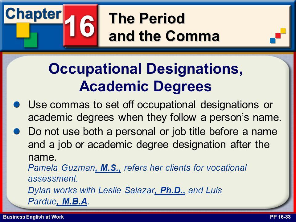 Occupational Designations, Academic Degrees