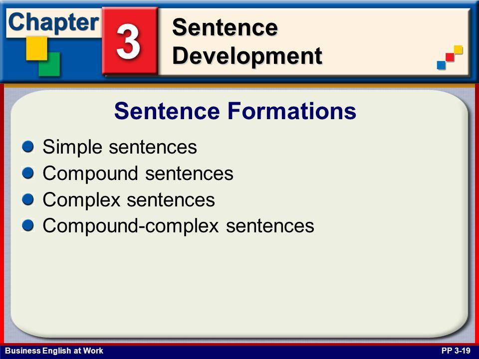 Sentence Formations Simple sentences Compound sentences