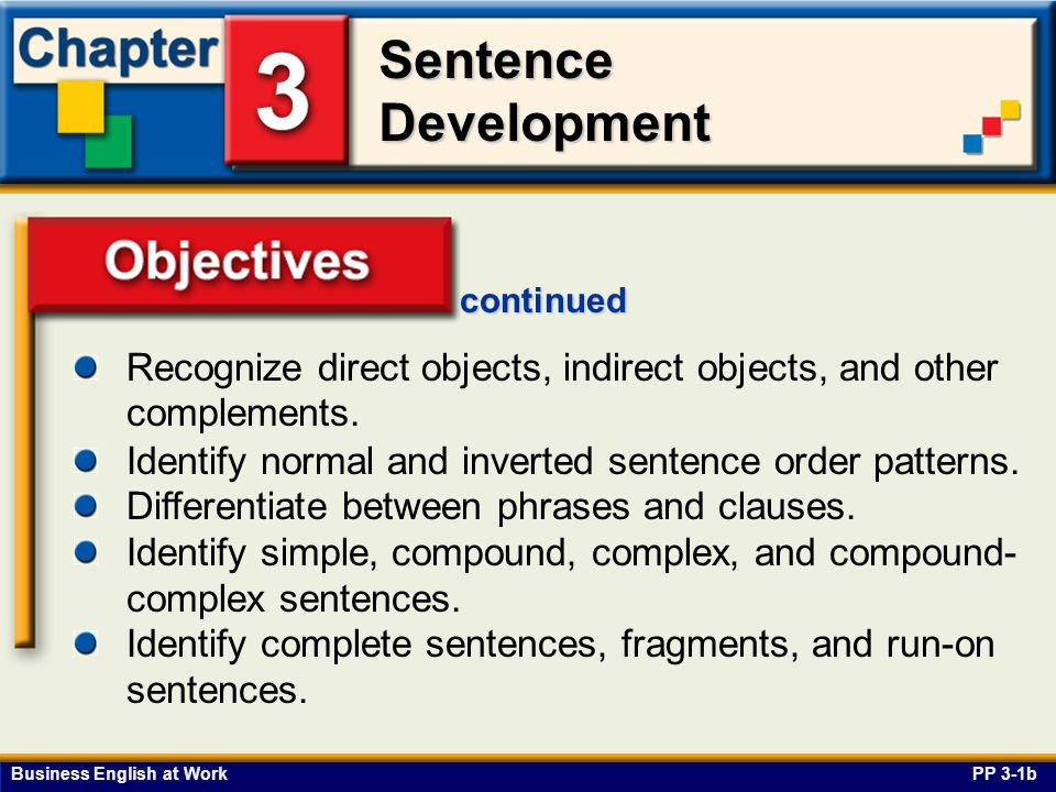 continued Recognize direct objects, indirect objects, and other complements. Objectives. Identify normal and inverted sentence order patterns.