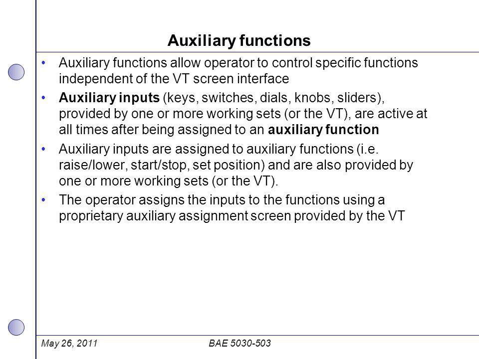 Auxiliary functions Auxiliary functions allow operator to control specific functions independent of the VT screen interface.