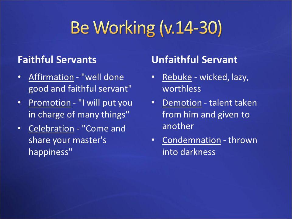 Be Working (v.14-30) Faithful Servants Unfaithful Servant