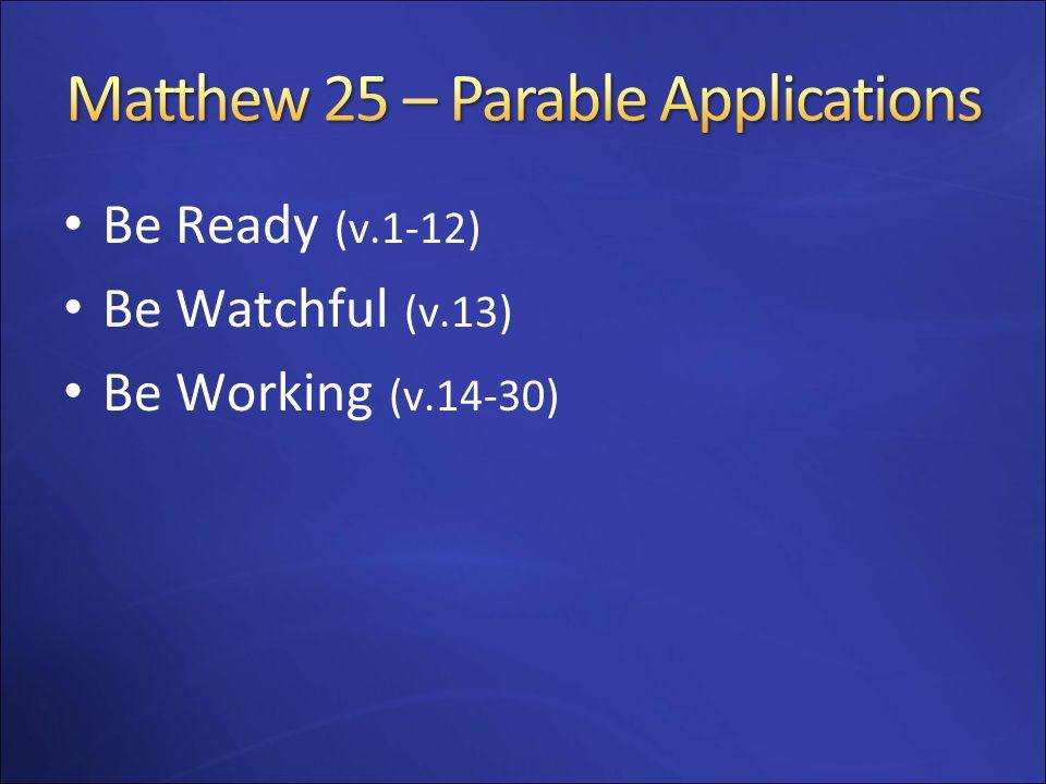 Matthew 25 – Parable Applications