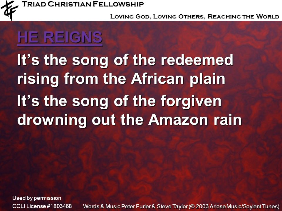 It's the song of the redeemed rising from the African plain