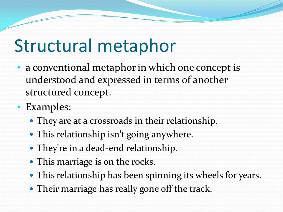 Structural metaphor a conventional metaphor in which one concept is understood and expressed in terms of another structured concept.