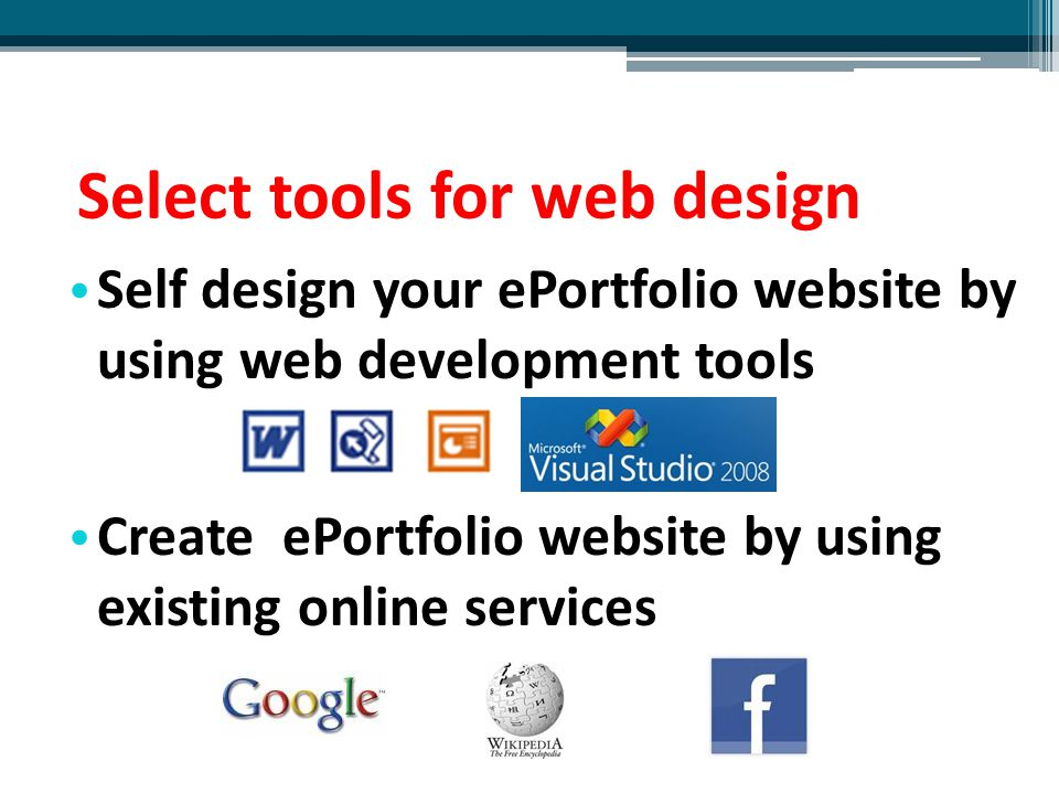 Select tools for web design
