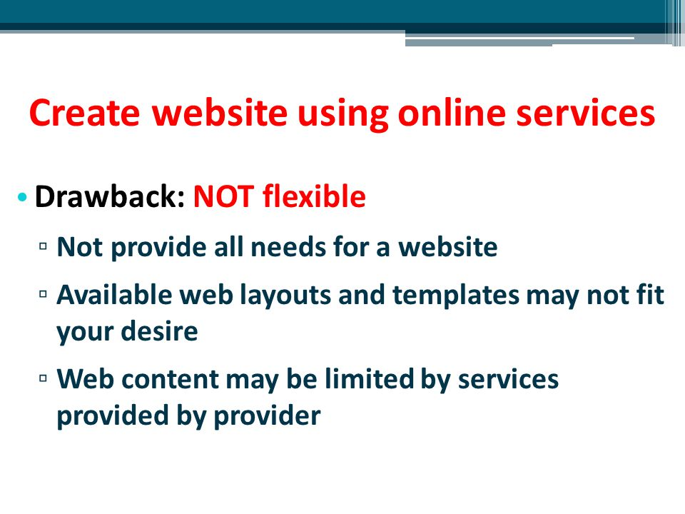 Create website using online services