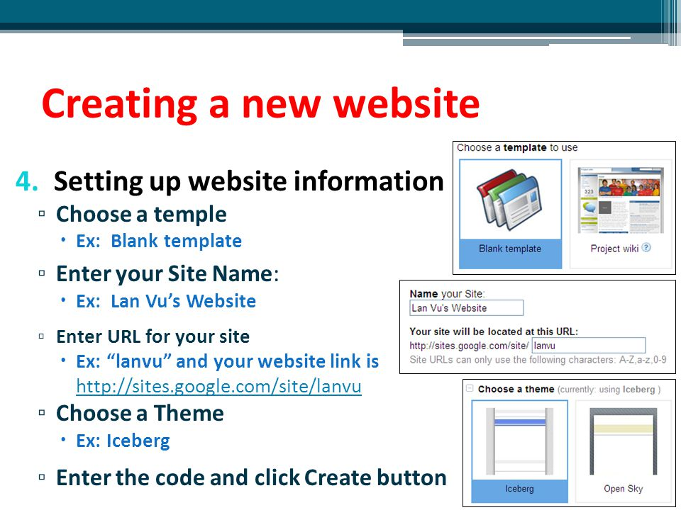 Creating a new website Setting up website information Choose a temple