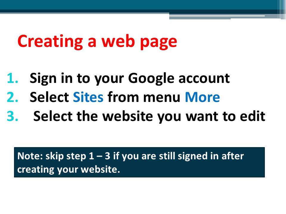 Creating a web page Sign in to your Google account