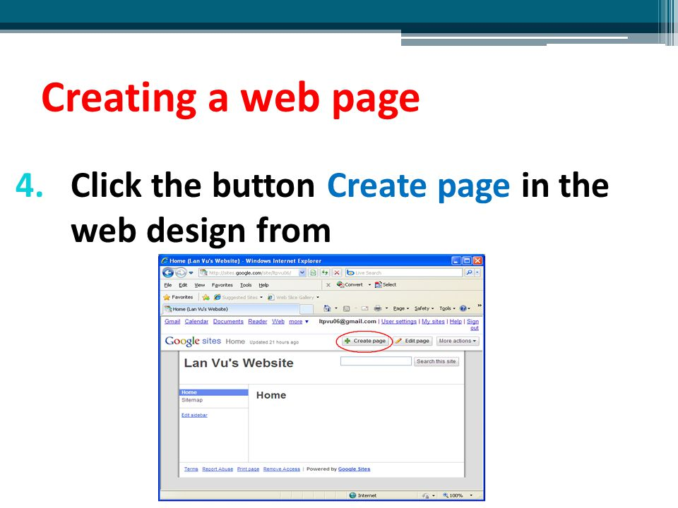 Creating a web page Click the button Create page in the web design from