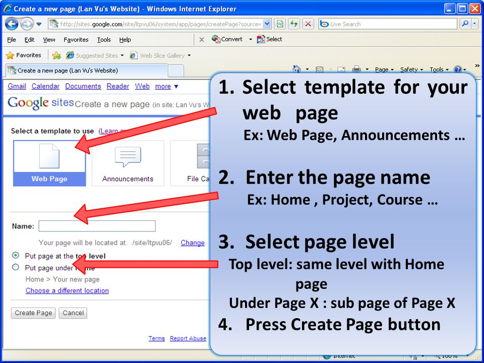 Create a web page Select template for your web page