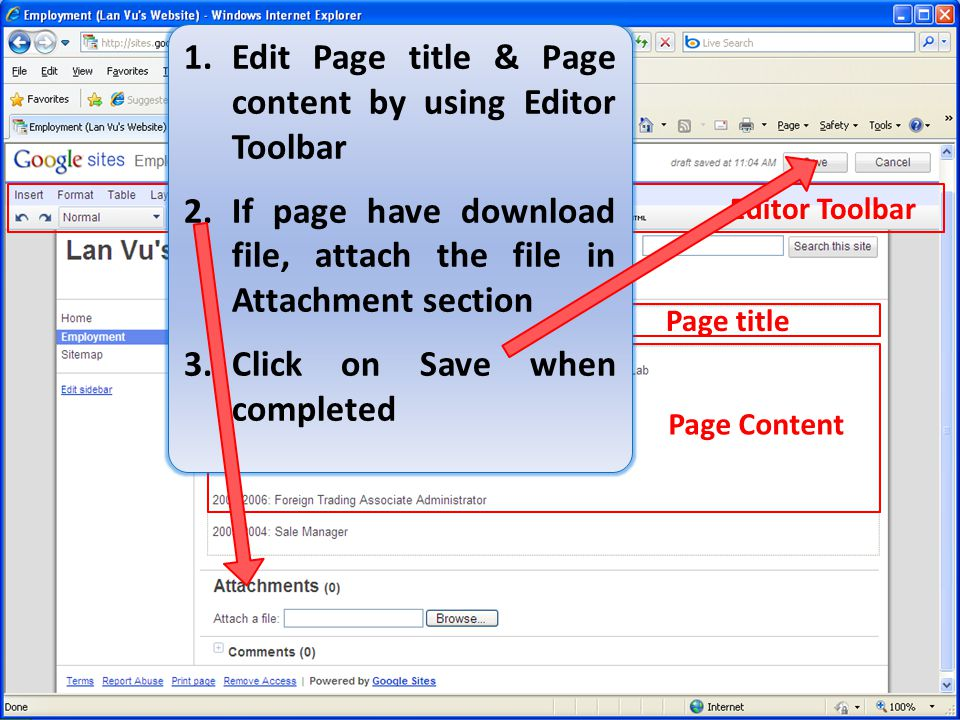 Edit Page title & Page content by using Editor Toolbar