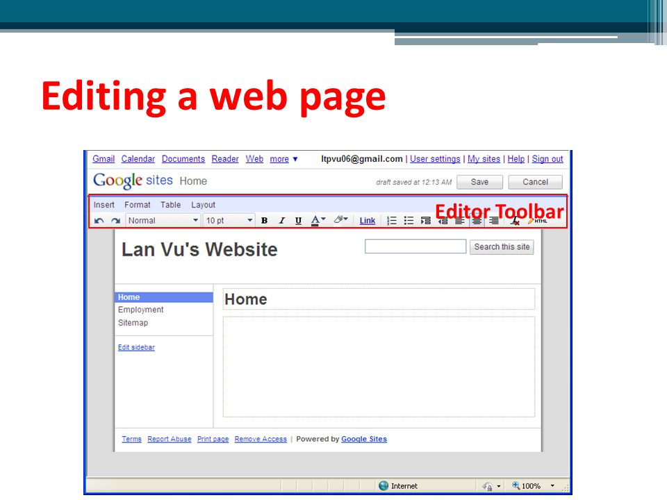 Editing a web page Editor Toolbar