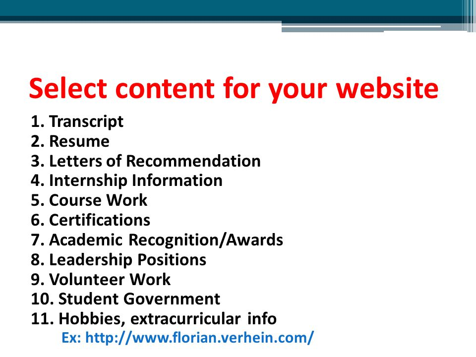 Select content for your website