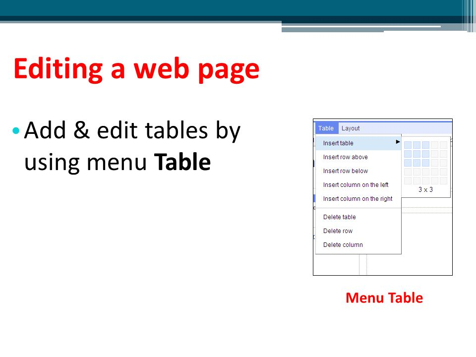 Editing a web page Add & edit tables by using menu Table Menu Table