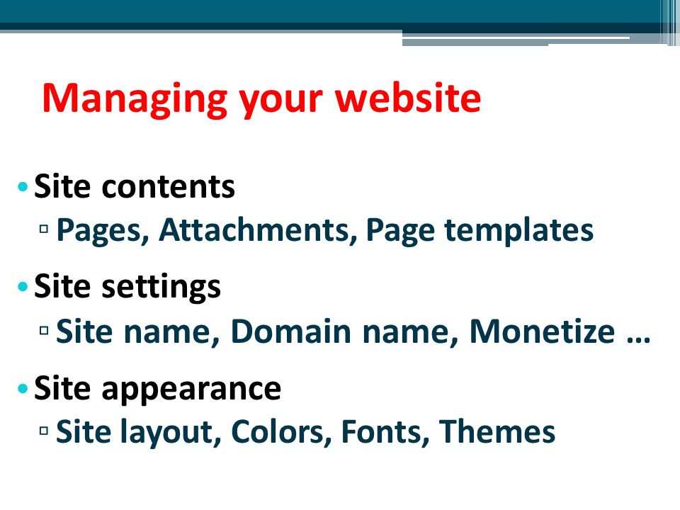 Managing your website Site contents Site settings