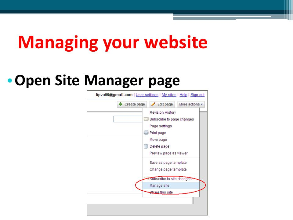 Managing your website Open Site Manager page