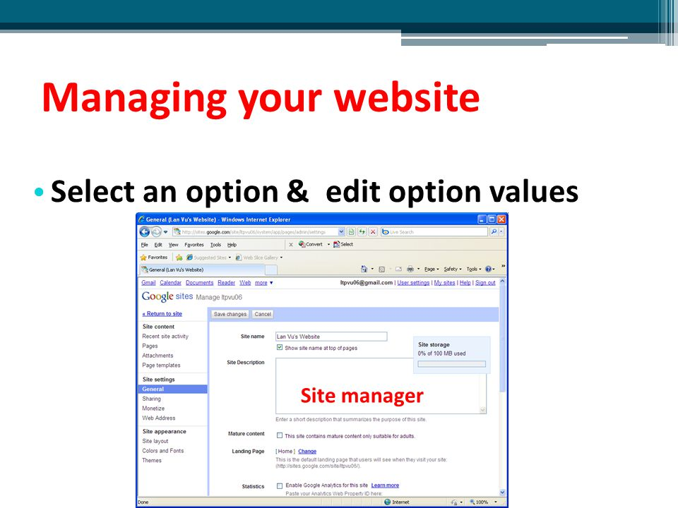 Managing your website Select an option & edit option values